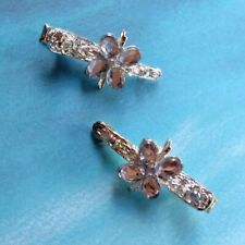 New Pair of Silver Tone Filigree Crystal Butterfly Crocodile Hair Clips