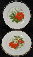 "Syracuse China Vintage Poinsettia Christmas 9"" Salad Luncheon Plate Gold Rim"