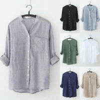 Women Stand Collar Long Sleeve Shirt Casual Blouse Button Down Tops Plus Size