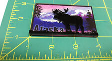 Alaska Moose Silhouette Magnet - 2 layered magnet - Alaska Magnet - Beautiful !
