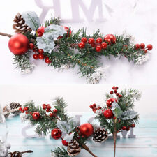 Artificial Red Holly Berry Leaves Christmas Wreath Stem Snow Flowers Decorations