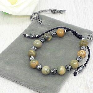 Handmade Natural Astrophyllite Cord Gemstone Chakra Bracelet & Velvet Pouch.