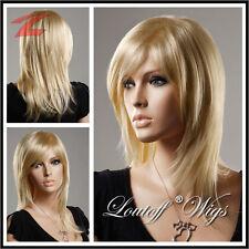 Damen Perücke Blond Haar wie Echthaar Mittel Lang Glatt Wig Cosplay Kostüm Neu