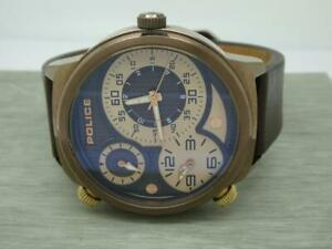 Original Men's Police Elapid Brown Dial brown Leather Strap Gents Multi Watch