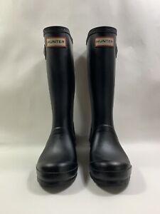 HUNTER Girls Black Low Shine Rubber Wellies Wellington Boots Size UK 13 EU 32
