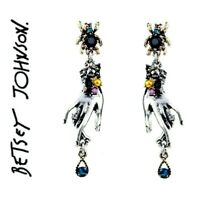 US Seller Betsey Johnson Retro Rhinestone Spider Water Drop Hand Earring Jewelry