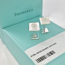 Tiffany & Co. Sterling Silver Notes Square Cufflinks Cuff Links 18819A