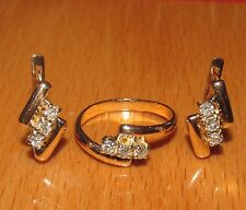 STUNNING SECONDHAND 14ct YELLOW GOLD DIAMOND SET EARRINGS & RING SIZE M1/2