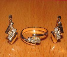 Impresionante segunda mano 14ct Oro Amarillo Diamante Set Aretes & Anillo Tamaño M1/2