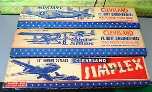 3  OLD 50'S CLEVELAND BALSA  MODEL AIRPLANE KITS MUSTANG SILVAIRE VOUGHT CUTLASS