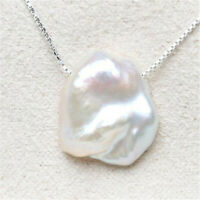 Fashion White petals Baroque Pearl Pendant Necklace natural jewelry charm REAL