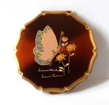 VINTAGE STRATTON COMPACT WITH HAND ENGRAVED BUTTERFLY & FLOWERS.