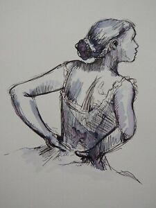 Hand drawn Pen and ink wash drawing after Edgar Degas of a ballet dancer