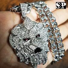 """Silver PT Big Lion Head Pendant & 10mm 30"""" Cuban Heavy Chain Hip Hop Necklace"""