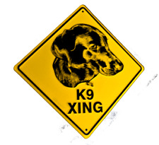 Dog Crossing (K-9) embossed metal sign 12 x 12 inches