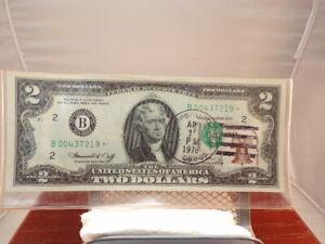 $ 2.00 DOLLAR 1976 first day issue STAR NOTE  U.S. PAPER MONEY