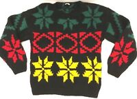 Vintage Esprit Sport Wool Ugly Sweater 1980s Xmas Holiday Black Red Yellow Green