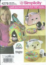 """S 4278 sewing pattern 18"""" DOLL sew 3 PET CARRIERS Dog COAT Cat DRESS BED CUSHION"""