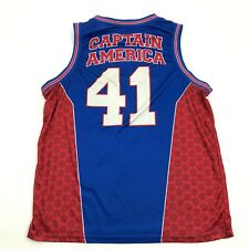 Marvel Captain America Basketball Jersey Size Extra Large Xl Blue Dry Fit Shirt