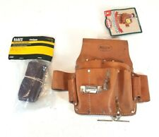 Riveted Leather Electricians Tool Bag Pouch w/ Klein Adjustable Web Belt - NOS