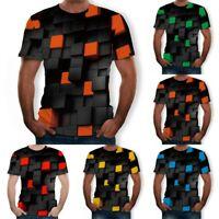 Fashion Men Summer 3D Printed Short Sleeve T Shirt Casual Comfort Blouse Top Tee