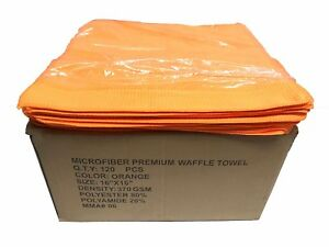 120 Ct 16x16 Premium Waffle Weave Towels Cleaning/Detailing Towels 370GSM Orange