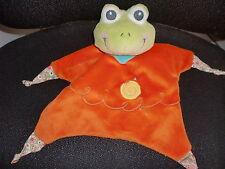 Doudou plat marionnette grenouille orange verte AURORA BABY (2 dispo)