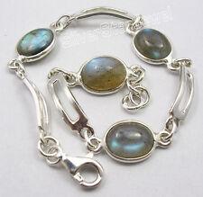 "925 Pure Silver LABRADORITE ART ADJUSTABLE Bracelet 7.5"" INDIAN JEWELLERS"