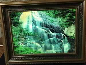Vintage Motion Lamp Light Up Table Top Desk Picture Waterfall Bird Sounds 12x10