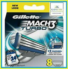 GILLETTE Mach 3 Turbo lame di ricambio 8 Pack - 100% Autentico-Nuovo di Zecca