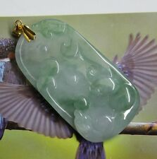 Certified Natural (Grade A) Gorgeous Icy Green Jadeite Gemstone Dragons Pendant