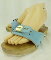 Dr Scholls Womens Sandals US 7 Blue Leather Wood Heel Slides Slip-On ITALY 1354