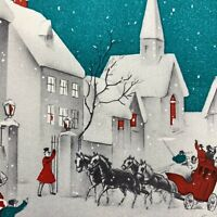 Vintage Early Mid Century Christmas Greeting Card Teal Church Red Sleigh Ride