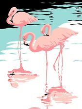 PINK FLAMINGO RETRO ART IMAGE  A4 Poster Gloss Print Laminated