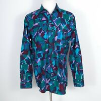 VINTAGE 80s 90s Roper Abstract Brushstroke Western Shirt Large