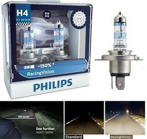 Philips Racing Vision 150% 9003 HB2 H4 60/55W Two Bulbs Head Light High Low Lamp