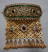 Ethnic 22K Gold Diamond Choker Collar Necklace Fine wedding Jewelry free ship