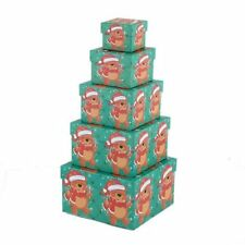 5 Pcs Square Merry Christmas Bear Gift Jewelry Present Greeting Case Boxes Set