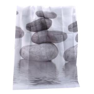 Grey Stacked Stones Shower Curtain Bathroom Waterproof Fabric Hanging Curtain SA