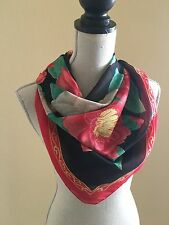 Vintage 1970's Colorful Print of Large Flowers On Soft Polyester 35 x 35 Scarf