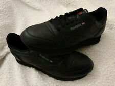 Reebok Classic Leather CL Black Red Fashion Mens Shoes Sneakers 116 Size 11