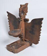Antique Indonesian Java JODOG oil lamp, Carved wood Garuda, bird, Tribal Art