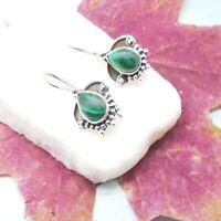 Malachit grün Tropfen Design Ohrringe Hänger Ohrhänger 925 Sterling Silber neu