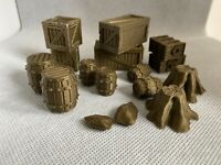 28mm Mixed Scatter Terrain-Wargames Scenery-Crates/Drums/Tree Stump-16 Pieces