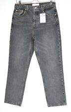 Topshop EDITOR High Waisted Straight Leg Washed Black Cropped Jeans 12 W30 L32