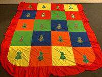 Unusual Brightly Colored Vintage Sun Bonnet Sue Quilt Topper or Bedspread
