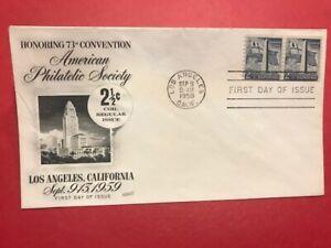 #1056 FDC 1959 Fleetwood 2 1/2c Philatelic Convention 73rd M255 UA Bunker Hill
