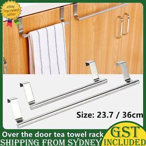 Over Door Tea Towel Holder Rack Kitchen Bathroom Rail Cupboard Hanger Bar Hook A