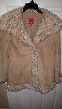 Women's ESPIRIT Leather Jacket Size Large Tan with Fur Style Trim L
