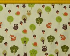 Woodland creatures linen canvas fabric - for upholstery, deco and clothes